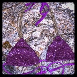 BEACH BUNNY Sequin & Chain tie triangle bikini Top